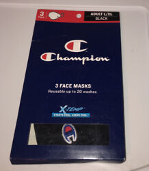 Champion L XL Ellipse Reusable Face Masks New In Box pack of 3X Black x temp $9.99