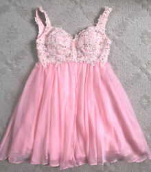 Boutique LaFemme formal Homecoming womens sequin beaded mini Babydoll dress 0 $63.75