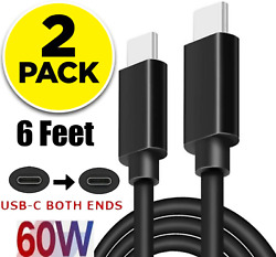 2 Pack 6FT USB C to USB C Cable Super Fast Charge Type C Charging Cord Charger $8.01