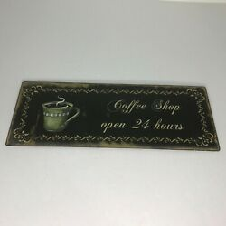 Hobby Lobby Coffee Shop Open 24 Hours Metal Wall Hanging Sign Rustic Distressed $22.50