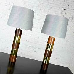 Wood amp; Brass Plate Banded Pair Lamps Style of Milo Baughman for Thayer Coggin $2495.00