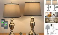 25quot; Set of 2 USB Table Lamps Bedroom Lamps Set of 2 for Living Room 25Inches $115.16
