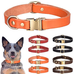 Cowhide Leather Dog Collars Top Pet Training Duty For M Large Adjustable Collar $10.69
