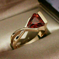 1.10Ct Trillion Cut Garnet Vintage Infinity Engagement Ring 14K Yellow Gold Over $189.43