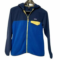 Patagonia Boys Size 12 Large Fleece Hooded Jacket Blue Color Block Micro D Snap $26.00