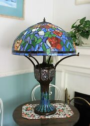 LARGE Tiffany Style Table Lamp Stained Glass Victorian Accent Office Desk $250.00
