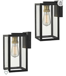 Zeyu 2 Pack Outdoor Wall Sconce Exterior Mount Light in Black Finish NEW