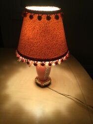 Vintage Lamp With Shade Table Desk Home Decor Staging Floral Pink Ornate $59.99