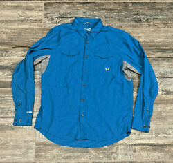 Under Armour ISO CHILL shirt fishing vented hiking Men#x27;s Large Blue Cool pocket $24.95