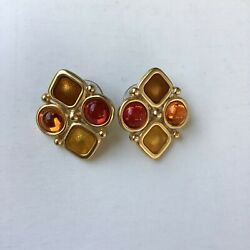 Vintage MONET Orange Red Glass Gripoix Cabochon Couture Clip Earrings Signed $49.99