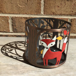 Super Cute BATH amp; BODY WORKS Bronze Metal amp; Enamel FOX IN A FOREST CANDLE HOLDER $19.99