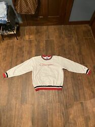 Vintage Champion Large Crewneck Spellout Script Ringer Gray Embroidered $34.99