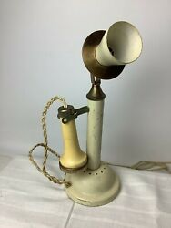 Vintage 11quot; Candlestick Telephone Lamp Ivory Untested for Parts Phone Light $24.95