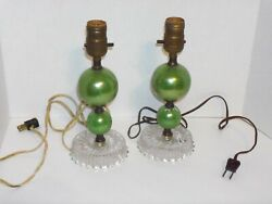 Pair of Green Vintage Lamps with Clear Glass Base $19.95