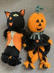 2 Black Cat Scarecrow Ornament Halloween Yarn Vintage Decoration Made In Japan $19.99
