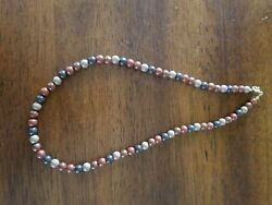 16quot; Beaded Shades of Brown amp; Black Necklace W C Clasp $6.99