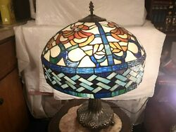 TIFFANY REPRODUCTION STAINED GLASS LAMP FREE SHIPPING NO. BASE $148.50