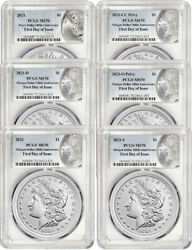 2021 Morgan Peace Dollar First Day of Issue PCGS MS70 6 pc Complete Set 100 Annv $2995.00