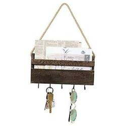 Small Key Holder for Wall Rustic Wooden Key Rack Hanger Mail Organizer Brown $18.21