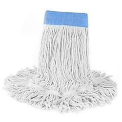 Loop End Commercial String Mop Head 6 Inch Headband Mop Head White