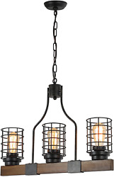 Farmhouse Chandelier for Dining Rooms 3 Lights Wood Chandelier Kitchen Island $137.49