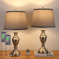 25quot; Set of 2 USB Table Lamps Aooshine Bedroom Lamps Set of 2 for Living Room $111.44
