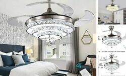 42quot; Fandelier Bling Chandelier Crystal Silver Invisible Ceiling Fans LED $321.62