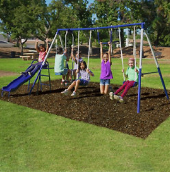 Swing Set Kids Playground Outdoor Playset Quality Comfort Heavy Duty Steel Tubes $216.45