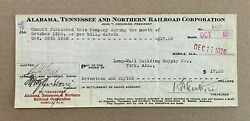 1926 check to Long Wall Building Supply Co of York AL ATamp;N RR Mobile AL $14.99
