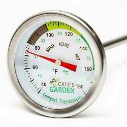 Cate#x27;s Garden Compost Thermometer Stainless Steel for Backyard 2quot; Diameter $25.99