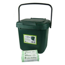 Green Kitchen Compost Caddy amp; 50x 8L Biobags for Food Waste Recycling 7 C $65.92