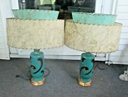 1950s Mid Century Modern table Lamps atomic fiberglass shades RARE matched pair $700.00