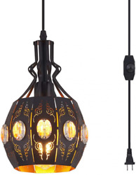 YLONG ZS Hanging Lamps Swag Lights Plug in Pendant LightRetro Yl13 black $49.72