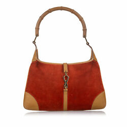 Pre Loved Gucci Orange Suede Leather Bamboo Jackie Shoulder Bag ITALY $224.98