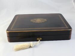 French Antique Napoleon III Gaming Box Boulle Inlay Gentleman#x27;s Gift $495.00