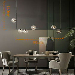 Stylish Black Glass 6 Light Bubble Linear Chandelier For Home Indoor Decoration $101.78