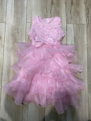 girls pink ruffled fluffy pink tulle dress size 140 size 6 7 $12.00