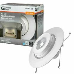 Commercial Electric Gimbal Light 53803111 w Recessed Trim 6quot; Dimmable White
