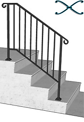 Iron X Handrail Picket #3 RAILING Rail Fits 3 or 4 Step