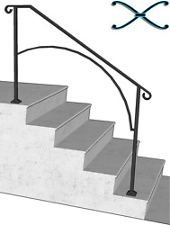 Iron X Handrail Arch #4 RAILING Rail Fits 4 or 5 Step