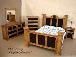 Queen Size Rustic Chipilo Iron Bedroom Set Real Solid Wood Cabin Lodge Western
