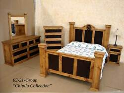 King Size Rustic Chipilo Iron Bedroom Set Real Solid Wood Western Cabin Lodge
