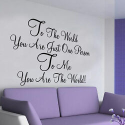 To The World LOVE wall sticker LARGE decor vinyl bedroom quote GBP 11.99