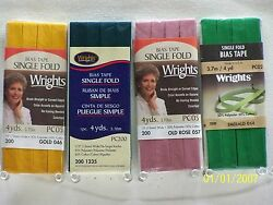 Wrights  C&C Bias Tape Single Fold-12 w x 4 yds 103 Great colors to choose!!! $2.99