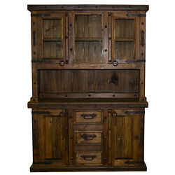2 Piece Rustic Reclaimed China Cabinet Western Real Wood Free SH LWR 48 Dining