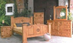 5 Pc Honey Rustic Queen Bedroom Set with Star Free Shipping Real Wood Western
