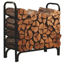 Log Rack Outdoor Fireplace Wood Logs 4 ft Holder Storage Powder Coated NIB