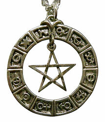 Mystical Pentacle Hanging in Zodiac Circle Silver Finish Pendant Necklace NK 460 $12.99