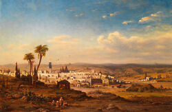 Large art Oil painting Arabs together in cityscape in unset view no framed $101.99