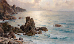 Large art Oil painting nice seascape ocean waves in the morning with rocks $84.99